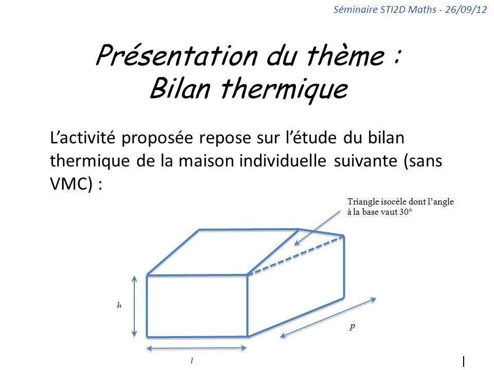 Présentation du thème : Bilan thermique Lactivité proposée repose sur létude du bilan thermique de la maison individuelle suivante (sans VMC) : Séminaire STI2D Maths - 26/09/12
