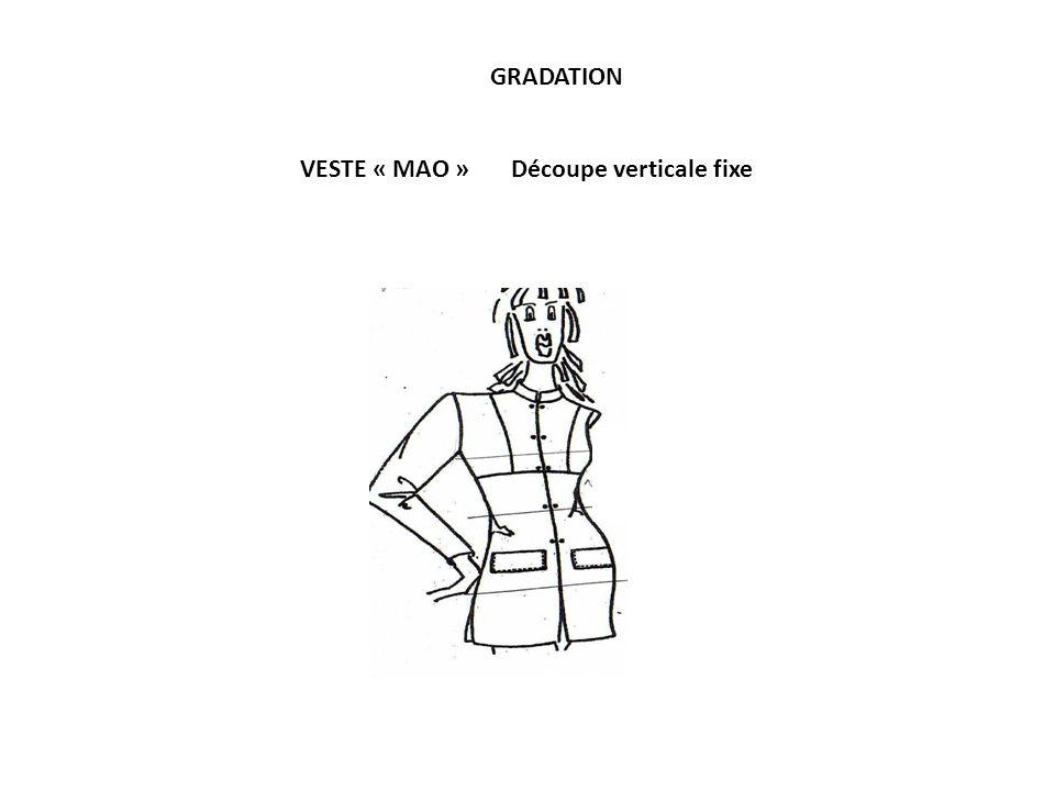 VESTE « MAO »Découpe verticale fixe GRADATION