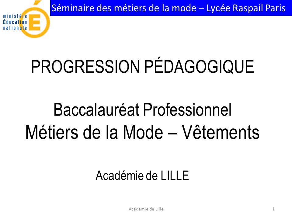 Séminaire des métiers de la mode – Lycée Raspail Paris PROGRESSION PÉDAGOGIQUE Baccalauréat Professionnel Métiers de la Mode – Vêtements Académie de LILLE 1Académie de Lille