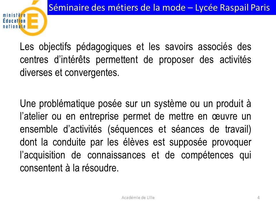 Séminaire des métiers de la mode – Lycée Raspail Paris Les objectifs pédagogiques et les savoirs associés des centres dintérêts permettent de proposer des activités diverses et convergentes.