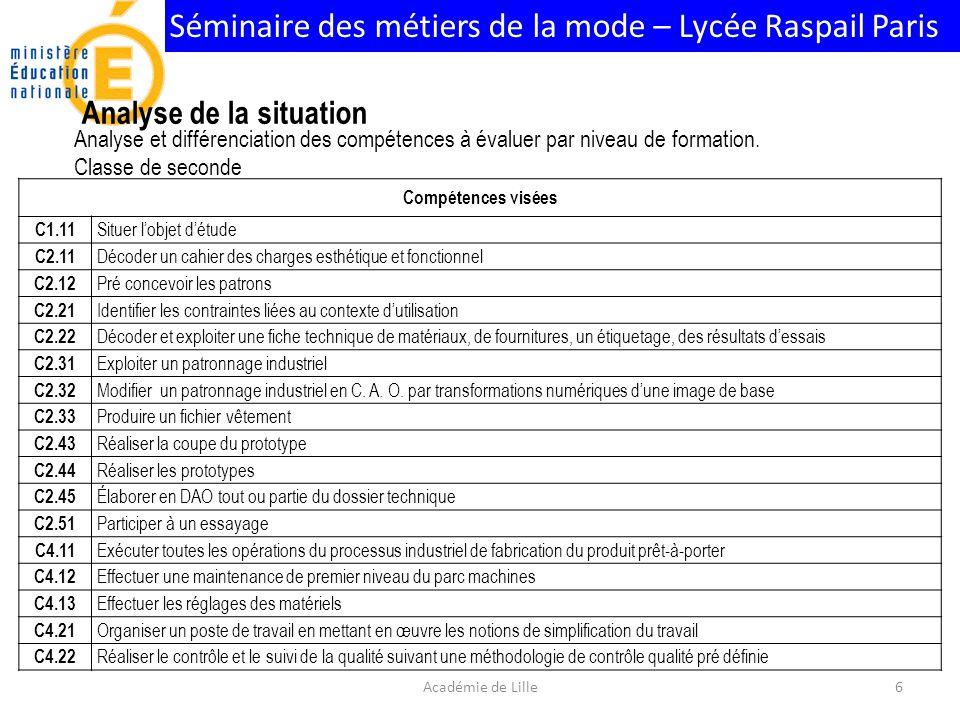 Séminaire des métiers de la mode – Lycée Raspail Paris Classe de première Compétences visées C1.12 Contextualiser C2.12 Pré concevoir les patrons C2.13 Modifier une toile en tracé à plat C2.14 Rectifier le patronnage après essayage C2.22 Décoder et exploiter une fiche technique de matériaux, de fournitures, un étiquetage, des résultats dessais C2.23 Répertorier les différentes solutions technologiques C2.41 Analyser un modèle C2.42 Calculer les besoins de matières, de fournitures C2.45 Élaborer en DAO tout ou partie du dossier technique C2.52 Apprécier le « bien-aller » dun produit C3.11 Appliquer les règles de gradation C3.12 Adapter la gradation C3.13 Saisir les règles de gradation C3.21 Vérifier la conformité des matériaux C3.22 Utiliser le matériel de contrôle C3.23 Interpréter les résultats C3.51 Mettre à jour les éléments du dossier technique de définition et de fabrication du produit C3.52 Participer à lélaboration des documents opératoires dindustrialisation du produit C3.53 Contribuer à larchivage, à la traçabilité de létude et à la capitalisation des expériences dans les bases de données techniques de lentreprise C3.54 Participer à lélaboration de documents destinés aux partenaires co traitants et sous-traitants C4.21 Organiser un poste de travail en mettant en œuvre les notions de simplification du travail C4.22 Réaliser le contrôle et le suivi de la qualité suivant une méthodologie de contrôle qualité pré définie C5.12 Transmettre oralement 7Académie de Lille