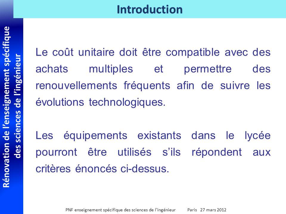 Rénovation de lenseignement spécifique des sciences de lingénieur PNF enseignement spécifique des sciences de lingénieur Paris 27 mars 2012 Le coût un