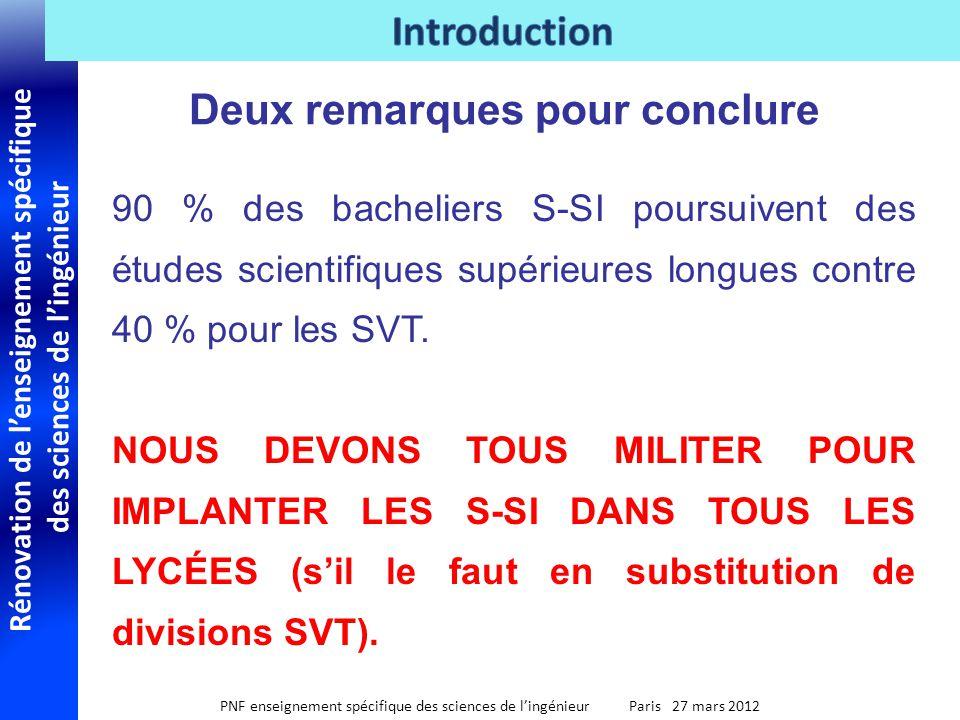 Rénovation de lenseignement spécifique des sciences de lingénieur PNF enseignement spécifique des sciences de lingénieur Paris 27 mars 2012 Deux remar