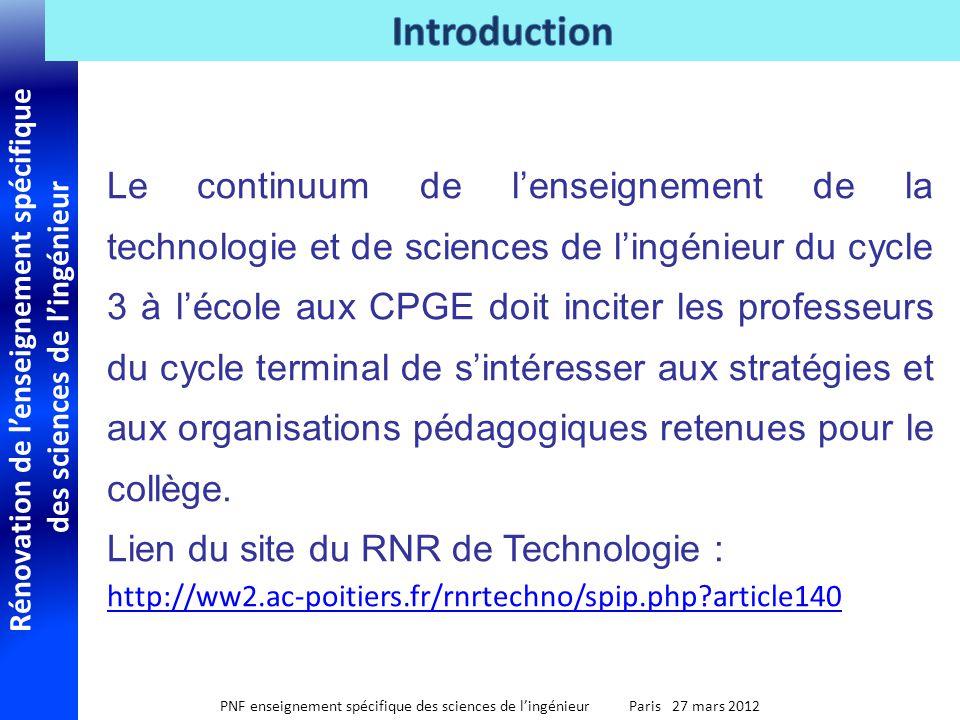 Rénovation de lenseignement spécifique des sciences de lingénieur PNF enseignement spécifique des sciences de lingénieur Paris 27 mars 2012 Le continu