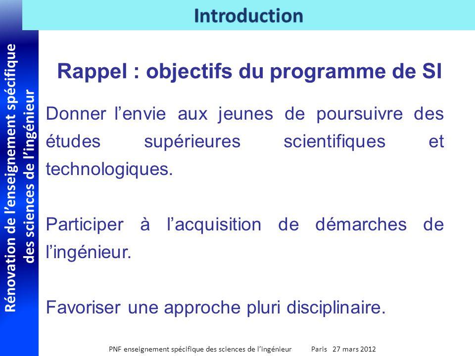 Rénovation de lenseignement spécifique des sciences de lingénieur PNF enseignement spécifique des sciences de lingénieur Paris 27 mars 2012 Donner len
