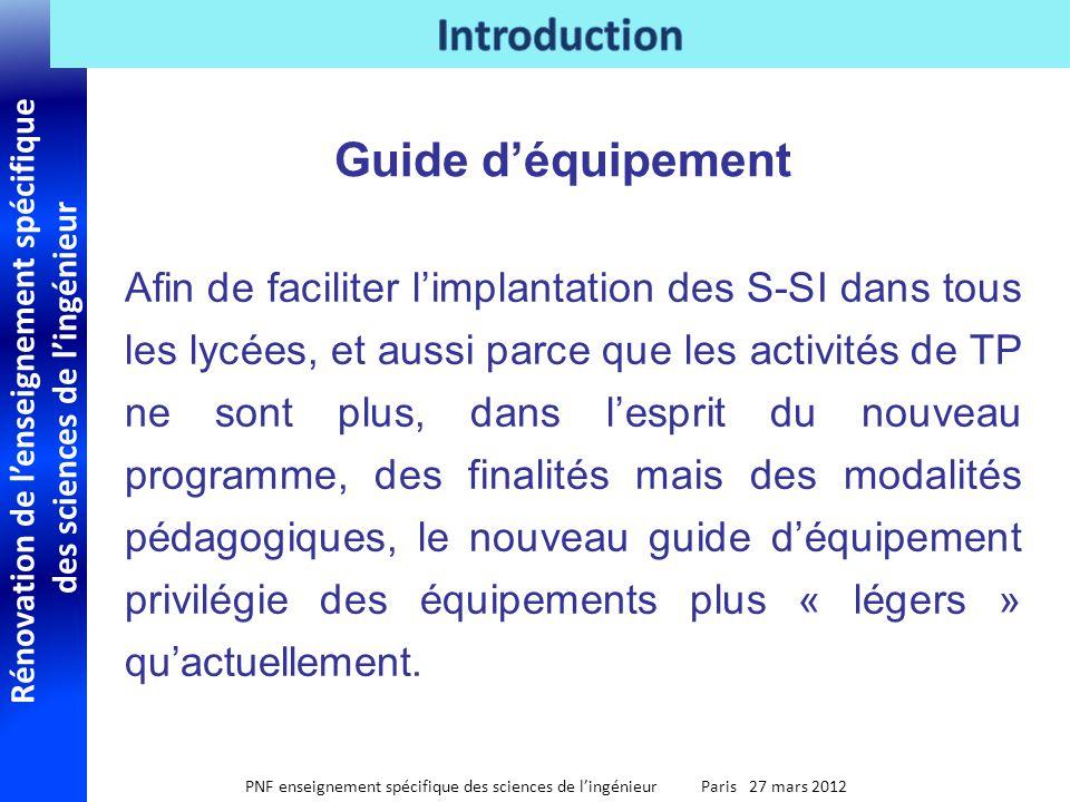 Rénovation de lenseignement spécifique des sciences de lingénieur PNF enseignement spécifique des sciences de lingénieur Paris 27 mars 2012 Afin de fa