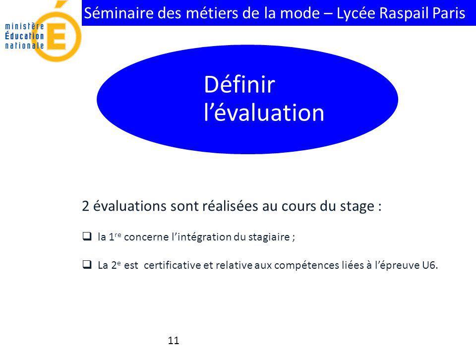 Séminaire des métiers de la mode – Lycée Raspail Paris 11 2 évaluations sont réalisées au cours du stage : la 1 re concerne lintégration du stagiaire