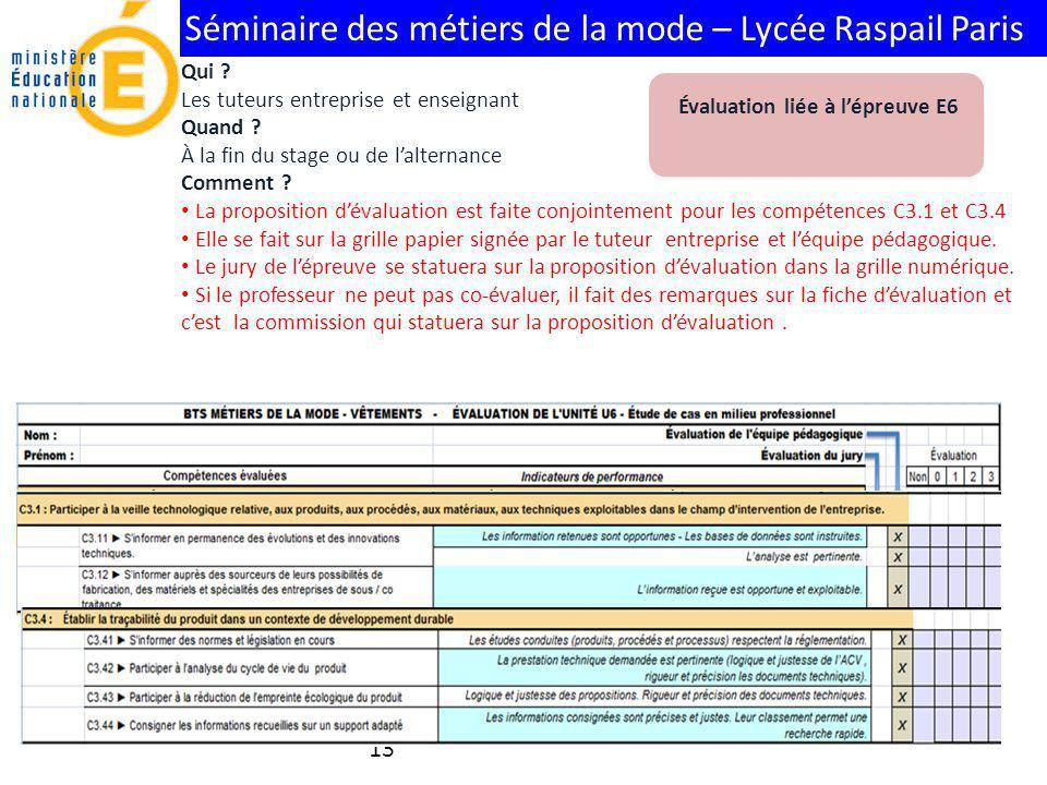 Séminaire des métiers de la mode – Lycée Raspail Paris 13 Évaluation liée à lépreuve E6 Qui ? Les tuteurs entreprise et enseignant Quand ? À la fin du