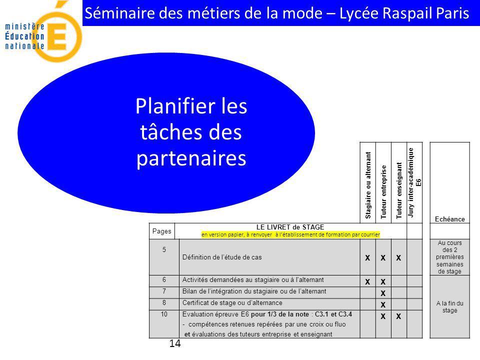 Séminaire des métiers de la mode – Lycée Raspail Paris 14 Planifier les tâches des partenaires Stagiaire ou alternant Tuteur entreprise Tuteur enseign