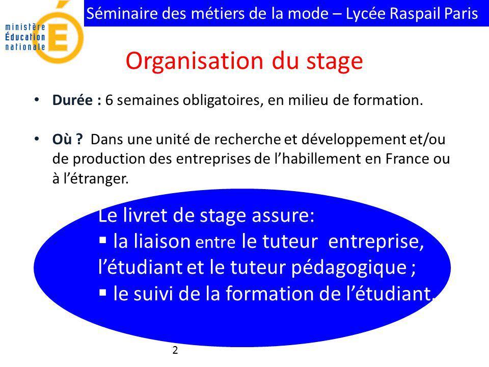 Séminaire des métiers de la mode – Lycée Raspail Paris Le livret de stage assure: la liaison entre le tuteur entreprise, létudiant et le tuteur pédago