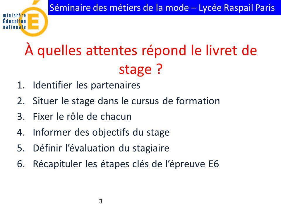 Séminaire des métiers de la mode – Lycée Raspail Paris À quelles attentes répond le livret de stage ? 1.Identifier les partenaires 2.Situer le stage d