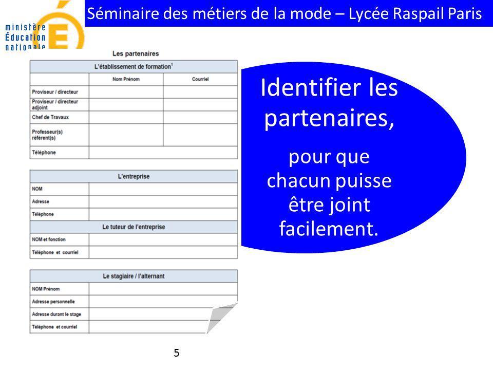 Séminaire des métiers de la mode – Lycée Raspail Paris Identifier les partenaires, pour que chacun puisse être joint facilement. 5