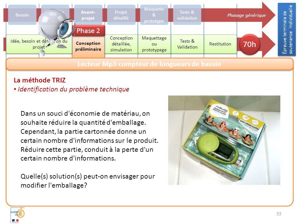 33 La méthode TRIZ Identification du problème technique Dans un souci d économie de matériau, on souhaite réduire la quantité d emballage.