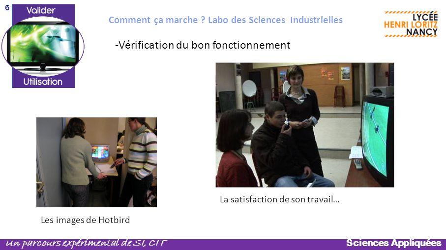 Sciences Appliquées Un parcours expérimental de SI, CIT -Vérification du bon fonctionnement Les images de Hotbird Comment ça marche ? Labo des Science