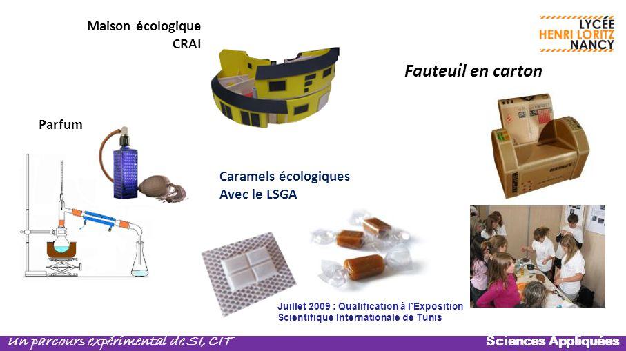 Sciences Appliquées Un parcours expérimental de SI, CIT Parfum Fauteuil en carton Maison écologique CRAI Caramels écologiques Avec le LSGA Juillet 200