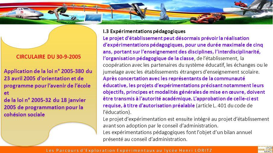 Sciences Appliquées Un parcours expérimental de SI, CIT