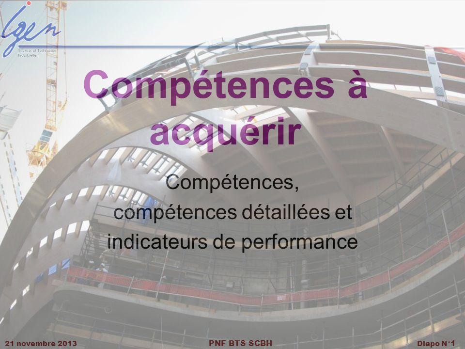 21 novembre 2013 PNF BTS SCBH Diapo N° 1 Compétences à acquérir Compétences, compétences détaillées et indicateurs de performance