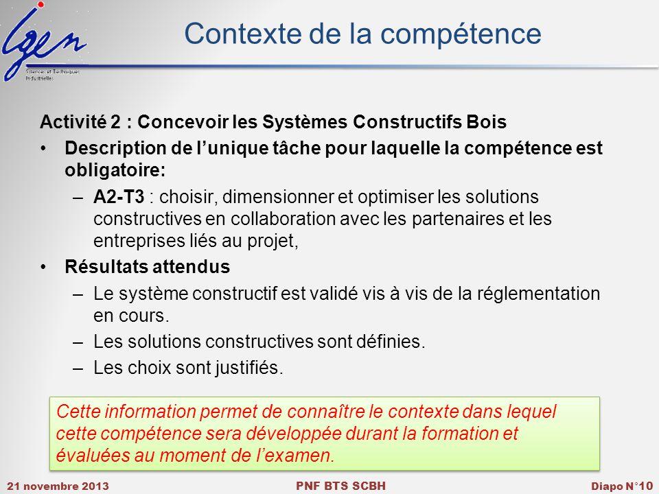 21 novembre 2013 PNF BTS SCBH Diapo N° 10 Contexte de la compétence Activité 2 : Concevoir les Systèmes Constructifs Bois Description de lunique tâche pour laquelle la compétence est obligatoire: –A2-T3 : choisir, dimensionner et optimiser les solutions constructives en collaboration avec les partenaires et les entreprises liés au projet, Résultats attendus –Le système constructif est validé vis à vis de la réglementation en cours.