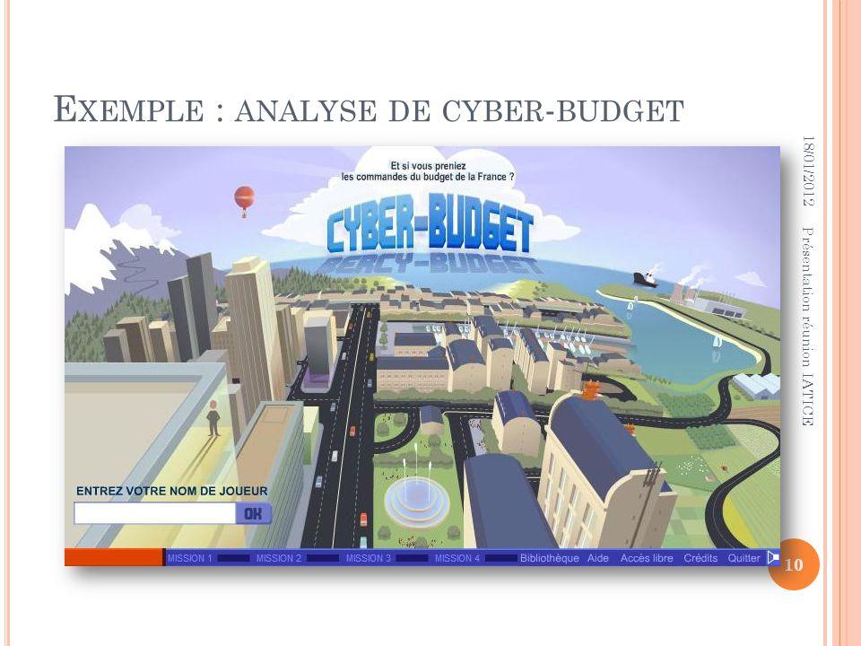 E XEMPLE : ANALYSE DE CYBER - BUDGET 18/01/2012 10 Présentation réunion IATICE