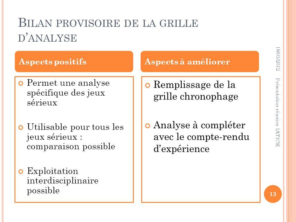 B ILAN PROVISOIRE DE LA GRILLE D ANALYSE 18/01/2012 Présentation réunion IATICE 13 Permet une analyse spécifique des jeux sérieux Utilisable pour tous