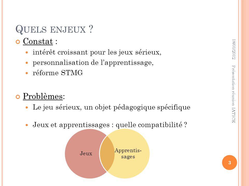 SOURCES Eduscol : http://eduscol.education.fr/ecogest/usages/jeux-serieux http://eduscol.education.fr/dossier/jeuxserieux NetVibes EIAH : http://seriousgames.lip6.fr/site/IMG/pdf/facettes_article_eiah_ 2011_v3.5__word_final.pdf http://seriousgames.lip6.fr/site/IMG/pdf/facettes_article_eiah_ 2011_v3.5__word_final.pdf http://eductice.inrp.fr/EducTice/projets/en- cours/geomatique/telechargement/actesEIAH2009 http://eductice.inrp.fr/EducTice/projets/en- cours/geomatique/telechargement/actesEIAH2009 18/01/2012 14 Présentation réunion IATICE