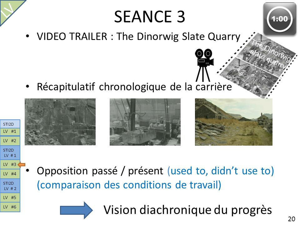 SEANCE 3 VIDEO TRAILER : The Dinorwig Slate Quarry Récapitulatif chronologique de la carrière Opposition passé / présent (used to, didnt use to) (comp