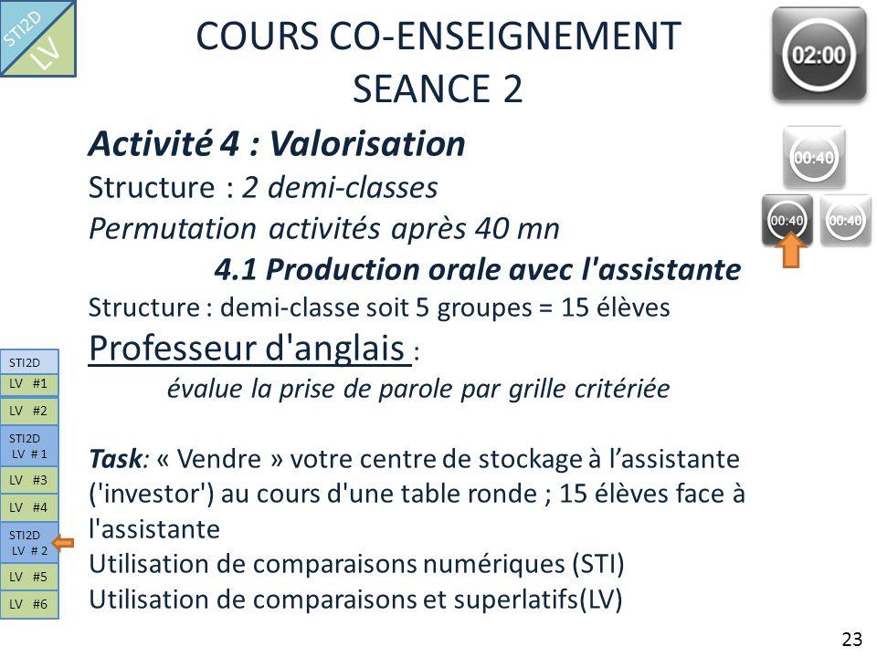 COURS CO-ENSEIGNEMENT SEANCE 2 Activité 4 : Valorisation Structure : 2 demi-classes Permutation activités après 40 mn 4.1 Production orale avec l'assi