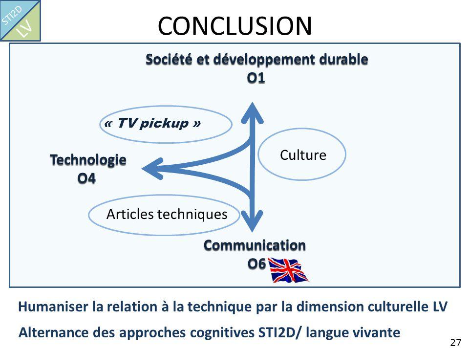 CONCLUSION 27 STI2D LV Société et développement durable O1 Technologie O4 Communication O6 O6 « TV pickup » Articles techniques Culture Humaniser la r