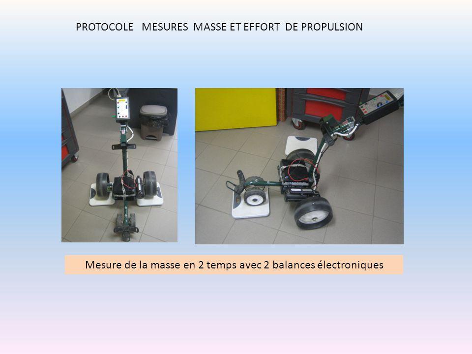 PROTOCOLE MESURES MASSE ET EFFORT DE PROPULSION Mesure de la masse en 2 temps avec 2 balances électroniques