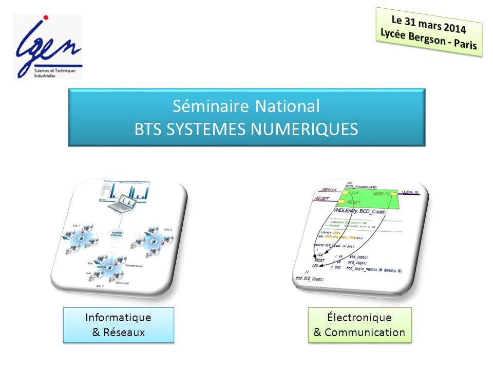 Informatique & Réseaux Informatique & Réseaux Électronique & Communication Électronique & Communication Séminaire National BTS SYSTEMES NUMERIQUES