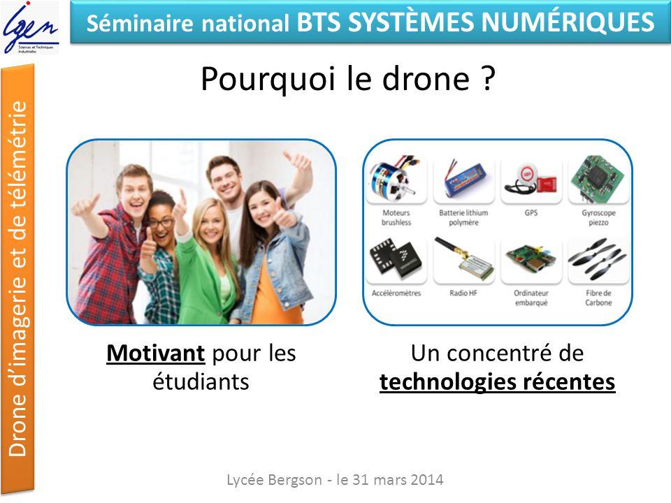 Séminaire national BTS SYSTÈMES NUMÉRIQUES Drone dimagerie et de télémétrie Pourquoi le drone ? Lycée Bergson - le 31 mars 2014 Motivant pour les étud