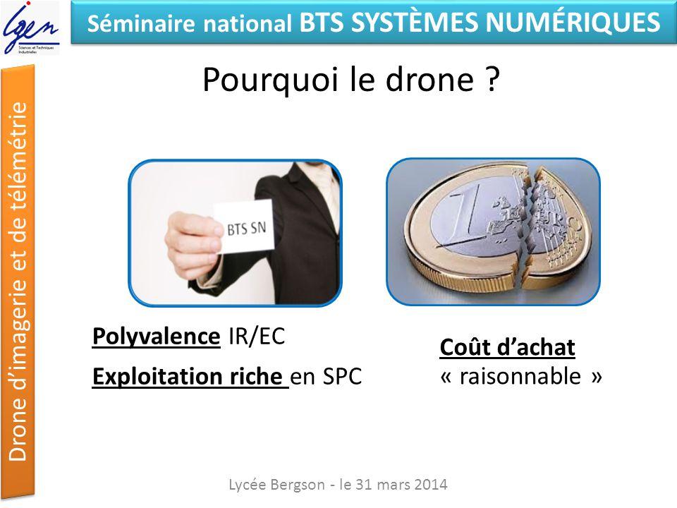 Séminaire national BTS SYSTÈMES NUMÉRIQUES Drone dimagerie et de télémétrie Pourquoi le drone ? Lycée Bergson - le 31 mars 2014 Polyvalence IR/EC Expl