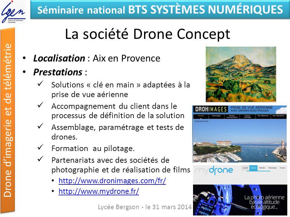 Séminaire national BTS SYSTÈMES NUMÉRIQUES Drone dimagerie et de télémétrie La société Drone Concept Localisation : Aix en Provence Prestations : Solu