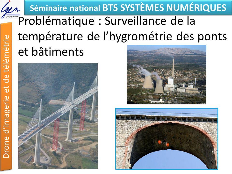 Séminaire national BTS SYSTÈMES NUMÉRIQUES Drone dimagerie et de télémétrie Problématique : Surveillance de la température de lhygrométrie des ponts e