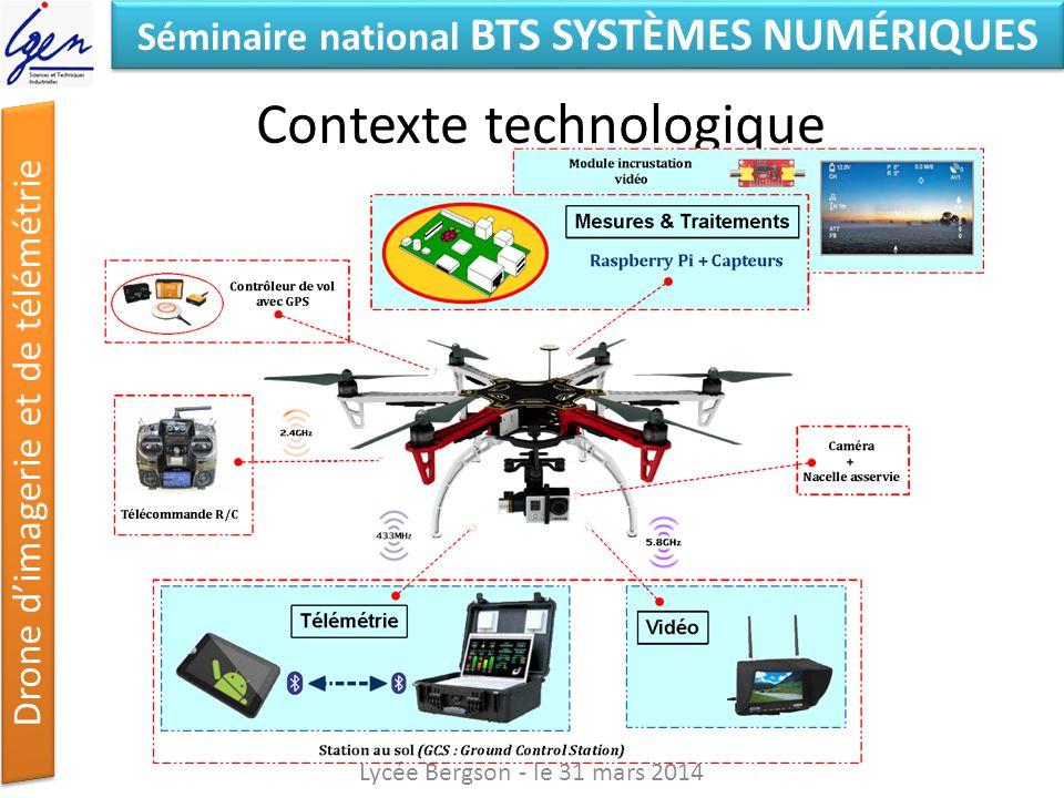 Séminaire national BTS SYSTÈMES NUMÉRIQUES Drone dimagerie et de télémétrie Contexte technologique Lycée Bergson - le 31 mars 2014