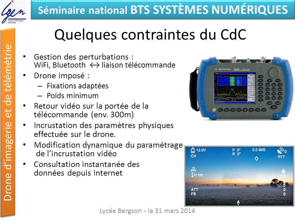Séminaire national BTS SYSTÈMES NUMÉRIQUES Drone dimagerie et de télémétrie Quelques contraintes du CdC Gestion des perturbations : WiFi, Bluetooth li