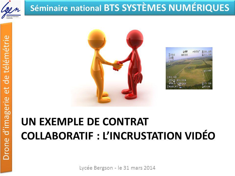 Séminaire national BTS SYSTÈMES NUMÉRIQUES Drone dimagerie et de télémétrie UN EXEMPLE DE CONTRAT COLLABORATIF : LINCRUSTATION VIDÉO Lycée Bergson - l
