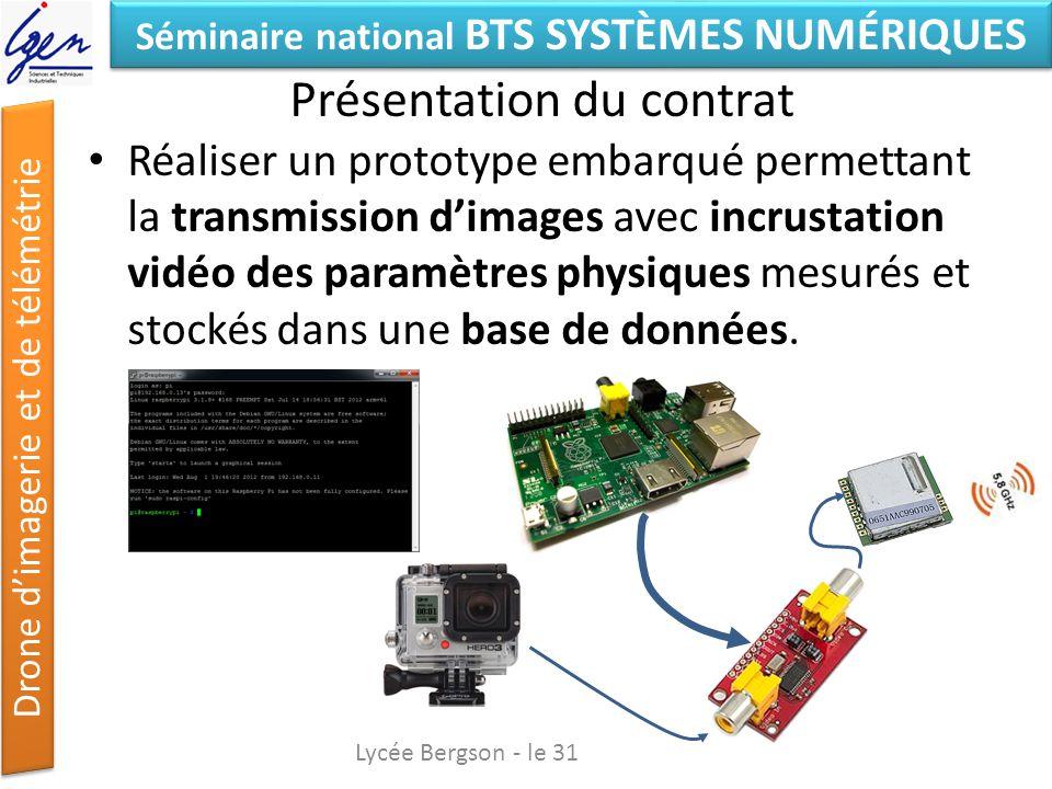 Séminaire national BTS SYSTÈMES NUMÉRIQUES Drone dimagerie et de télémétrie Présentation du contrat Réaliser un prototype embarqué permettant la trans
