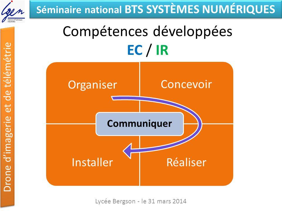 Séminaire national BTS SYSTÈMES NUMÉRIQUES Drone dimagerie et de télémétrie Compétences développées EC / IR Lycée Bergson - le 31 mars 2014 Organiser