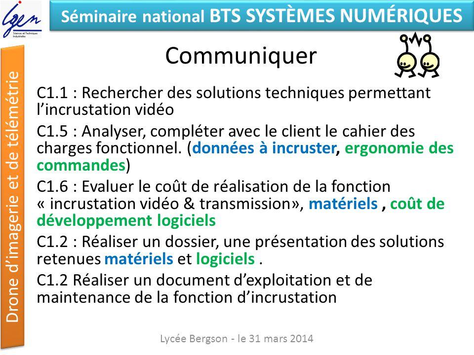 Séminaire national BTS SYSTÈMES NUMÉRIQUES Drone dimagerie et de télémétrie Communiquer C1.1 : Rechercher des solutions techniques permettant lincrust