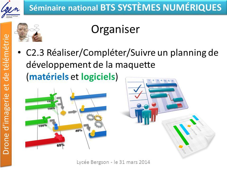Séminaire national BTS SYSTÈMES NUMÉRIQUES Drone dimagerie et de télémétrie Organiser C2.3 Réaliser/Compléter/Suivre un planning de développement de l