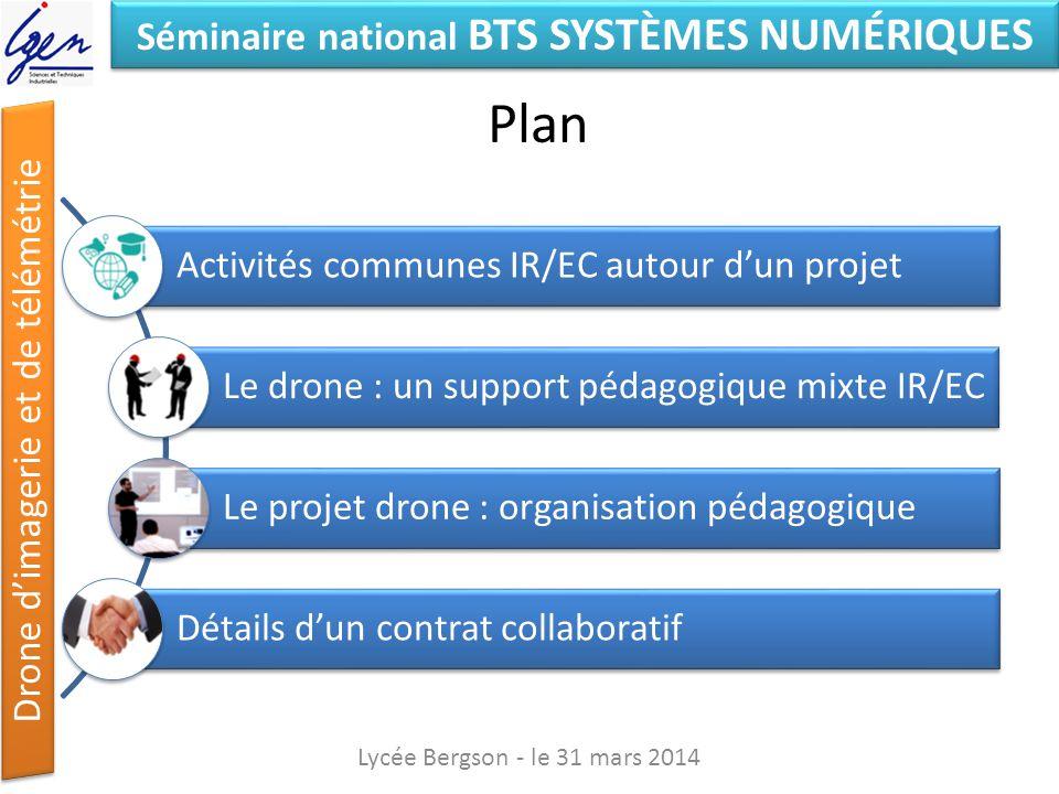 Séminaire national BTS SYSTÈMES NUMÉRIQUES Drone dimagerie et de télémétrie Plan Lycée Bergson - le 31 mars 2014 Activités communes IR/EC autour dun p