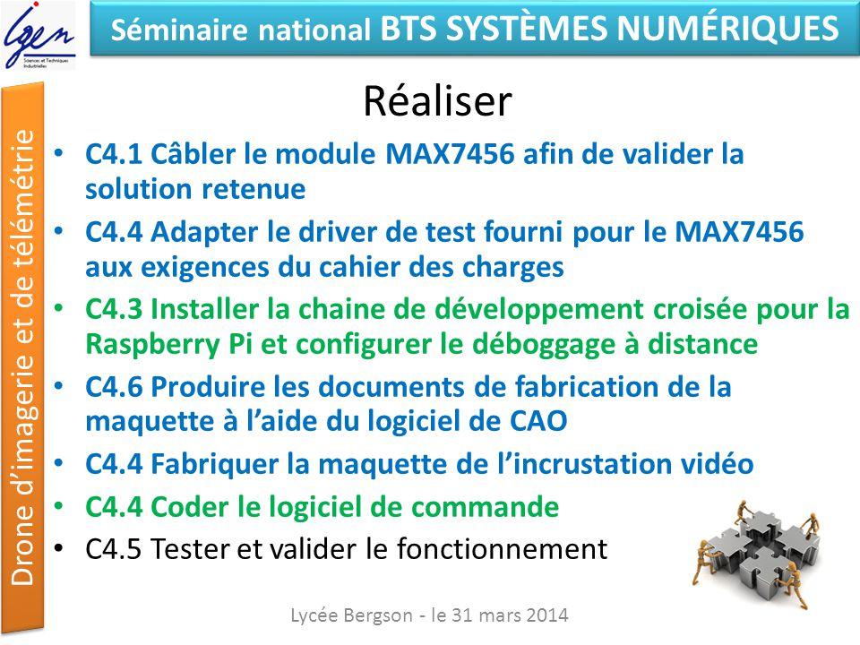 Séminaire national BTS SYSTÈMES NUMÉRIQUES Drone dimagerie et de télémétrie Réaliser C4.1 Câbler le module MAX7456 afin de valider la solution retenue