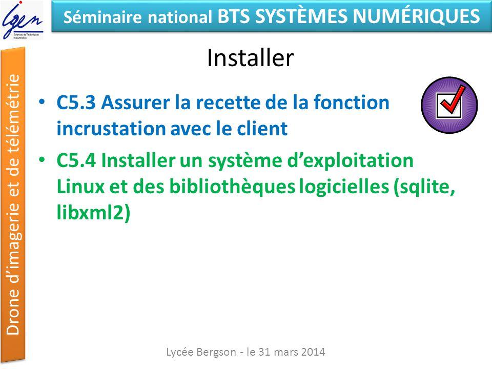 Séminaire national BTS SYSTÈMES NUMÉRIQUES Drone dimagerie et de télémétrie Installer C5.3 Assurer la recette de la fonction incrustation avec le clie