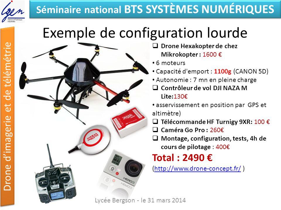 Séminaire national BTS SYSTÈMES NUMÉRIQUES Drone dimagerie et de télémétrie Exemple de configuration lourde Lycée Bergson - le 31 mars 2014 Drone Hexa