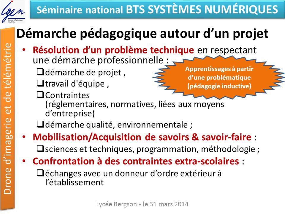 Séminaire national BTS SYSTÈMES NUMÉRIQUES Drone dimagerie et de télémétrie Compétences développées EC / IR Lycée Bergson - le 31 mars 2014 Organiser Concevoir InstallerRéaliser Communiquer
