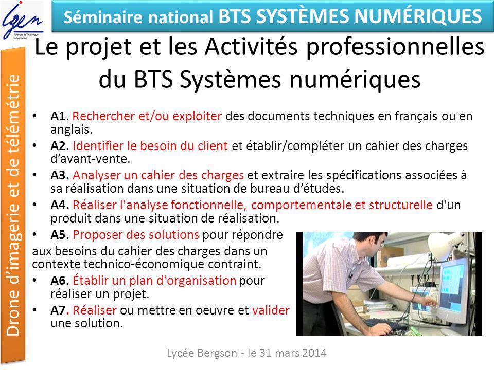 Séminaire national BTS SYSTÈMES NUMÉRIQUES Drone dimagerie et de télémétrie Le projet : Compétences mobilisées C1.