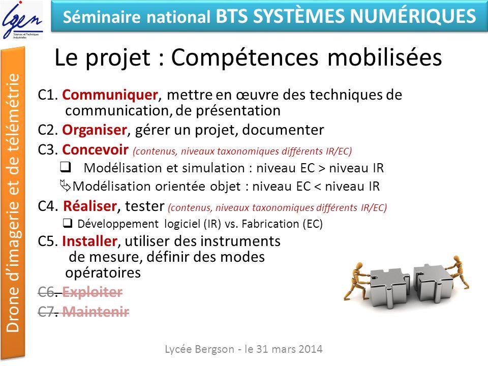 Séminaire national BTS SYSTÈMES NUMÉRIQUES Drone dimagerie et de télémétrie Organiser C2.3 Réaliser/Compléter/Suivre un planning de développement de la maquette (matériels et logiciels) Lycée Bergson - le 31 mars 2014