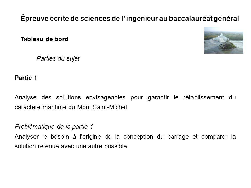 Épreuve écrite de sciences de lingénieur au baccalauréat général Tableau de bord Partie 1 Analyse des solutions envisageables pour garantir le rétabli