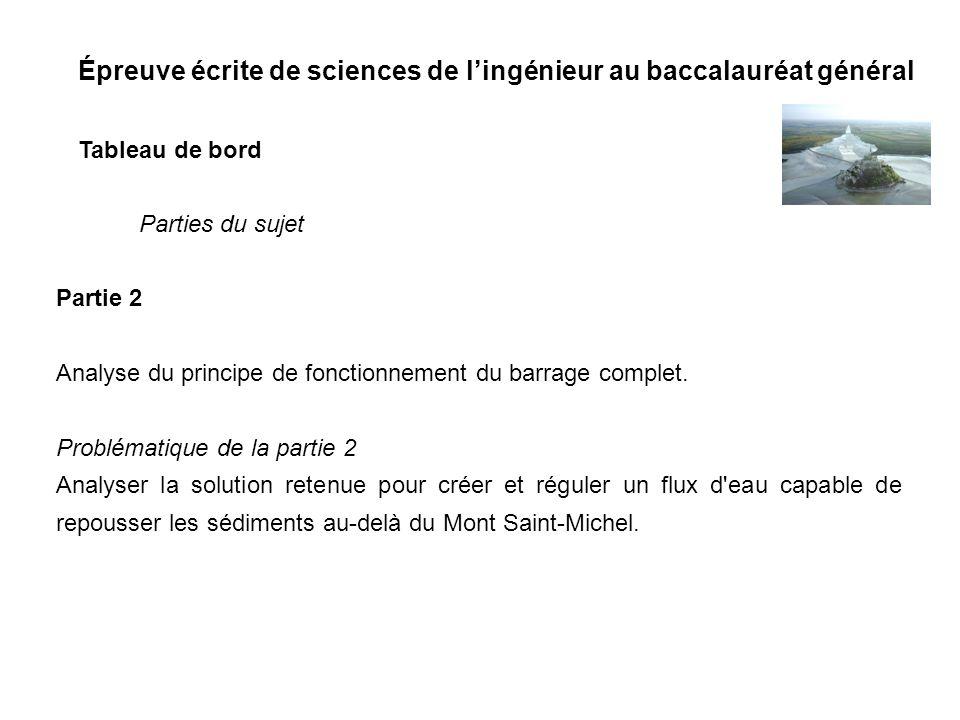 Épreuve écrite de sciences de lingénieur au baccalauréat général Tableau de bord Partie 2 Analyse du principe de fonctionnement du barrage complet. Pr